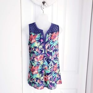 NEW Floral Navy Blue Tank Top Small